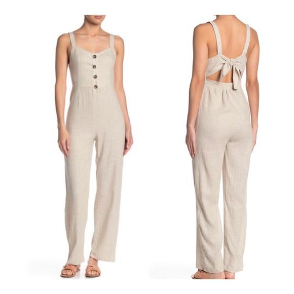 Romeo & Juliet Couture Pants - Romeo+Juliet Linen Stripe Jumpsuit/Sz:L/ N…